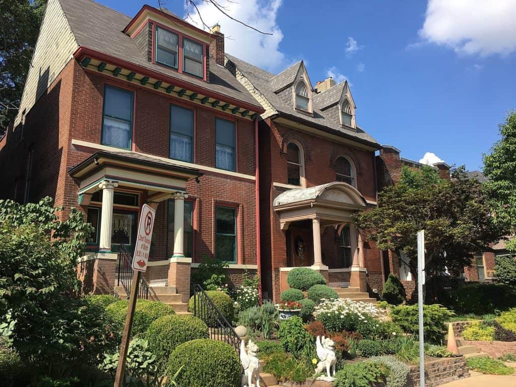 Brick Homes on Castleman Avenue in Shaw neighborhood in St. Louis